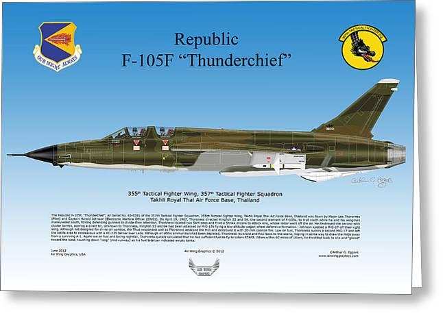 Republic F-105f Thunderchief Greeting Card by Arthur Eggers