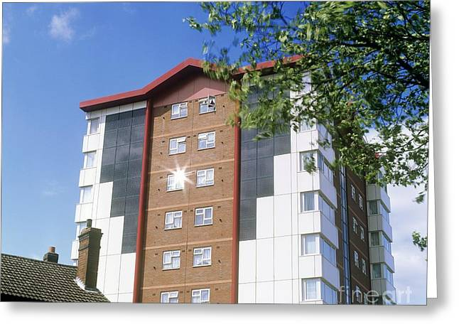 Residential Solar Panels, Uk Greeting Card by Martin Bond