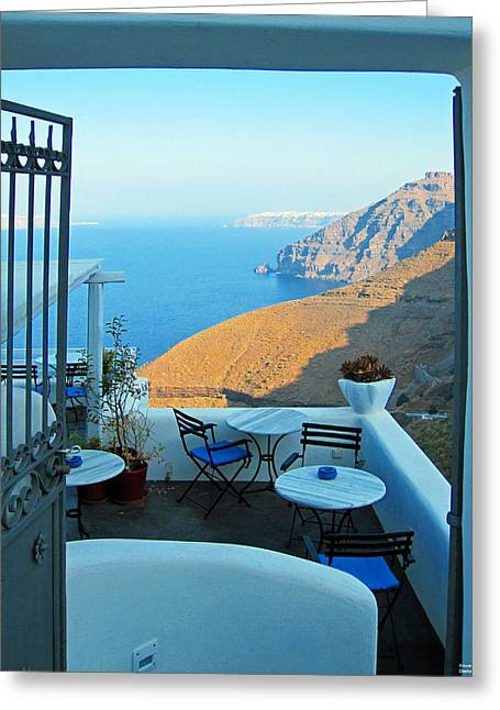 Resting Place In Santorini Greeting Card by Alexandros Daskalakis