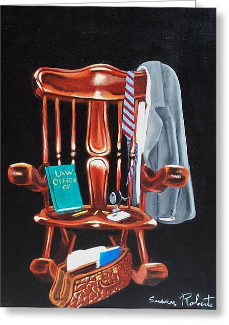 Greeting Card featuring the painting Retiring Lawyer by Susan Roberts