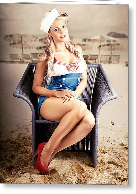 Retro Blond Beach Pinup Model With Elegant Look Greeting Card by Jorgo Photography - Wall Art Gallery