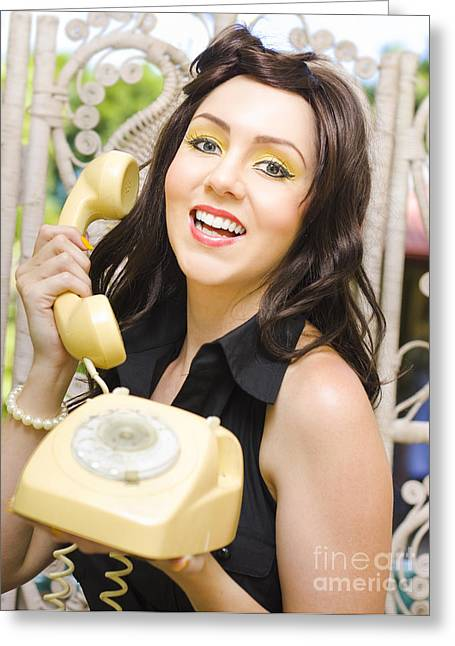 Retro Business Woman Greeting Card by Jorgo Photography - Wall Art Gallery