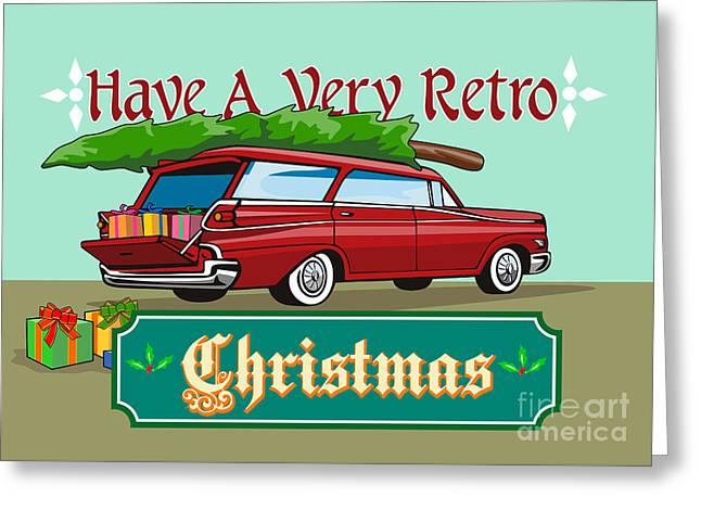 Retro Christmas Tree Station Wagon Greeting Card