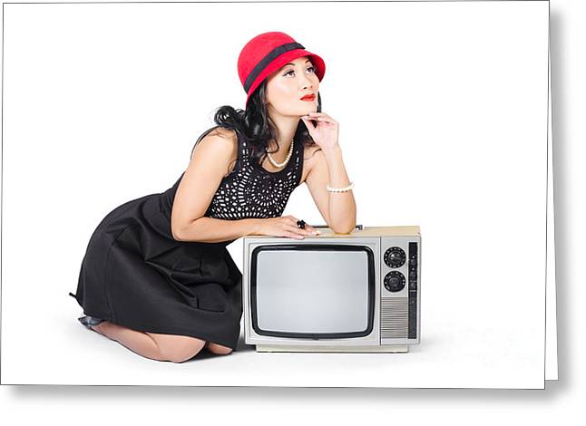 Retro Fashion Communication. Girl On Television Greeting Card by Jorgo Photography - Wall Art Gallery