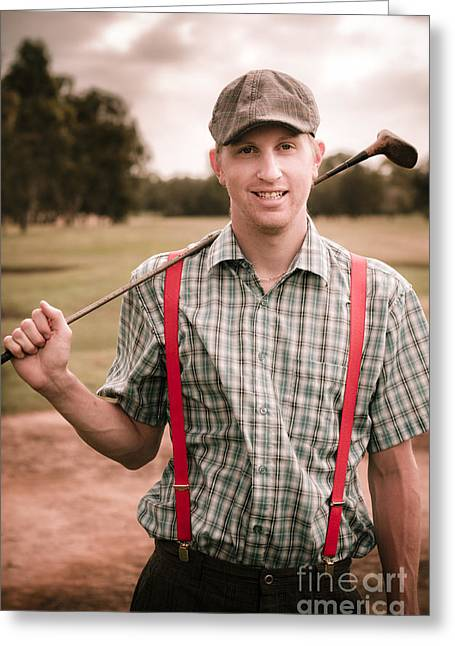 Retro Golfer Greeting Card by Jorgo Photography - Wall Art Gallery