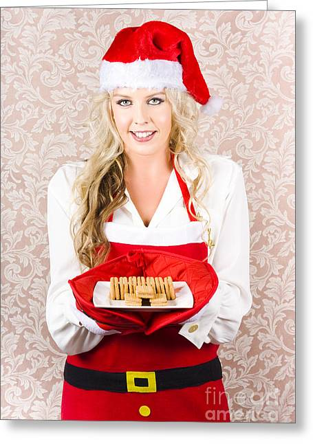Retro Housewife Baking Christmas Cookies Greeting Card by Jorgo Photography - Wall Art Gallery