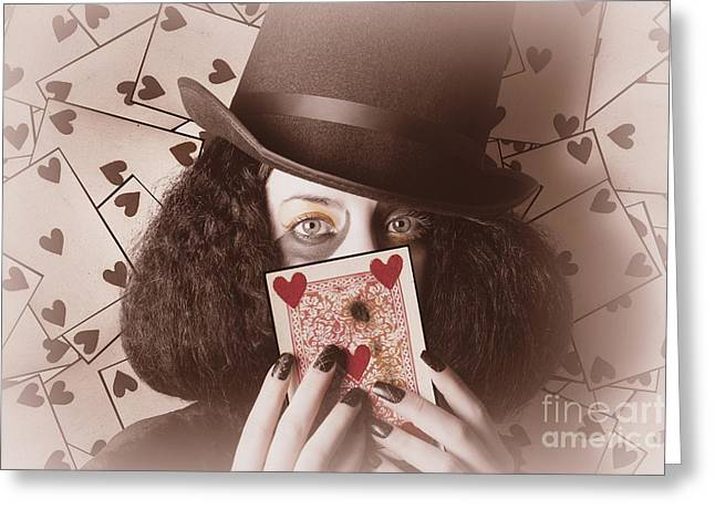 Retro Magician Holding Burnt Playing Card Greeting Card by Jorgo Photography - Wall Art Gallery