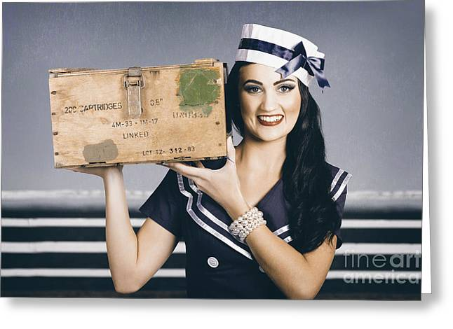 Retro Maritime Portrait. Woman In Sailor Fashion Greeting Card by Jorgo Photography - Wall Art Gallery