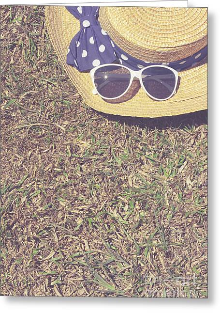 Retro Picnic On Meadow With Copy Space For Text Greeting Card by Jorgo Photography - Wall Art Gallery