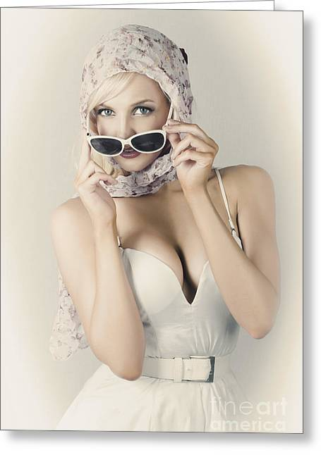 Retro Pin-up Girl In Classic Fashion Style Greeting Card