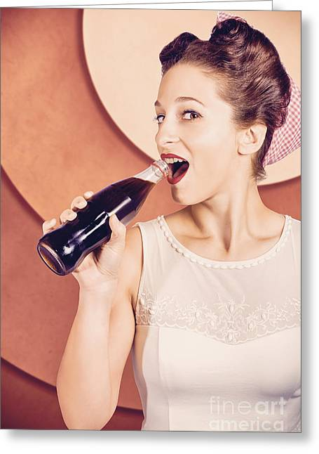 Retro Pin Up Pop Art. Soda Girl From 1950 Greeting Card by Jorgo Photography - Wall Art Gallery