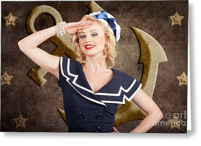 Retro Pin-up Sailor Woman. Retro 50s Fashion Style Greeting Card by Jorgo Photography - Wall Art Gallery