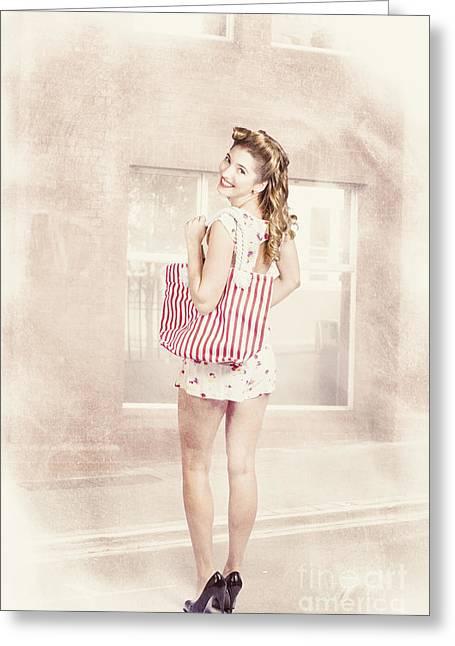 Retro Pin Up Woman Carrying Vintage Shopping Bag Greeting Card