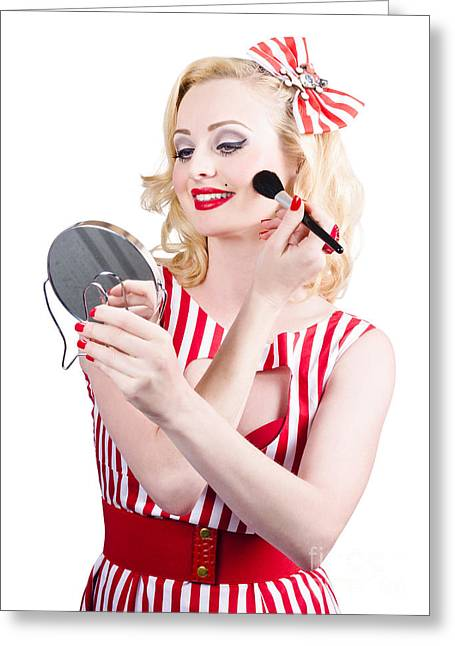 Retro Pin-up Woman Doing Beauty Make-up Greeting Card by Jorgo Photography - Wall Art Gallery