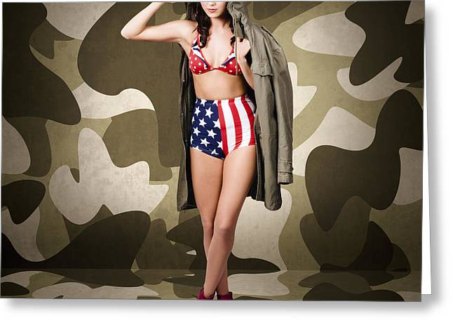Retro Pinup Girl In American Army Lingerie Greeting Card by Jorgo Photography - Wall Art Gallery