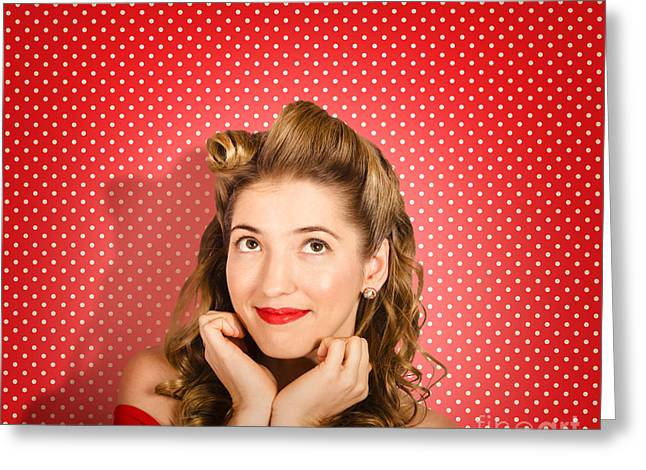 Retro Pinup Model. Beauty And Fashion Copyspace Greeting Card by Jorgo Photography - Wall Art Gallery