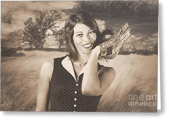 Retro Pinup Poster Girl Holding Baseball In Glove Greeting Card by Jorgo Photography - Wall Art Gallery