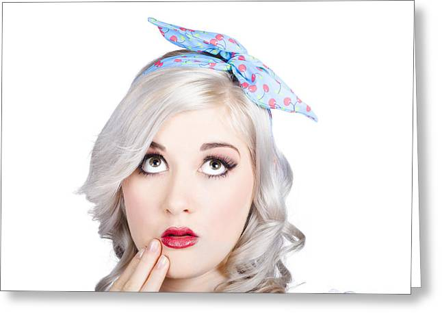 Retro Style Portrait Of A Blond Girl With A Bow Greeting Card by Jorgo Photography - Wall Art Gallery