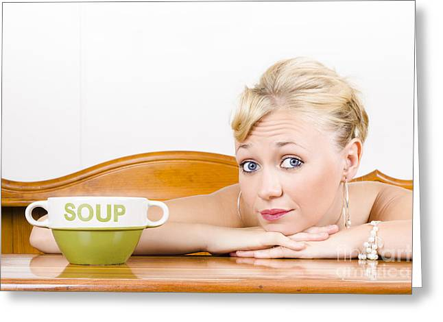 Retro Waiter With Soup Bowl At Restaurant Counter Greeting Card by Jorgo Photography - Wall Art Gallery