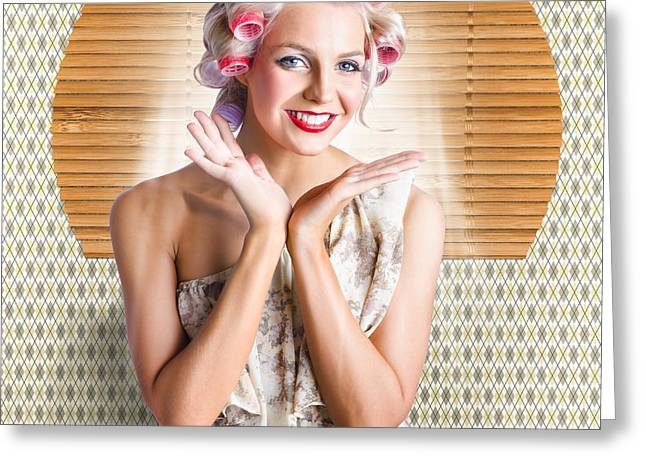 Retro Woman At Beauty Salon Getting New Hair Style Greeting Card