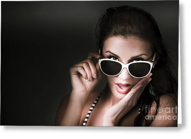 Retro Woman In Early Twenties Expressing Shock Greeting Card by Jorgo Photography - Wall Art Gallery
