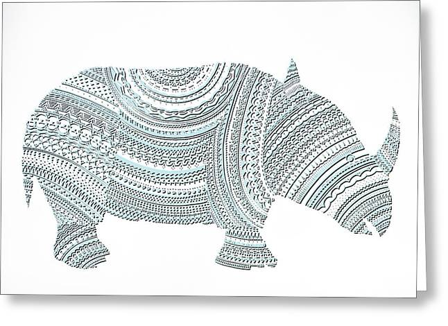 Rhinoceros Greeting Card by Olga Zsuzsanna Petrovits