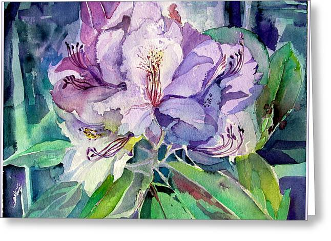 Rhodadendron Greeting Card by Mindy Newman