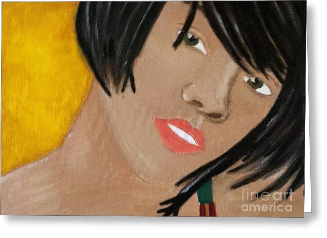 Rihanna  Greeting Card by Kristen Diefenbach