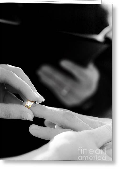 Rings Being Exchanged By A Bride And Groom Greeting Card
