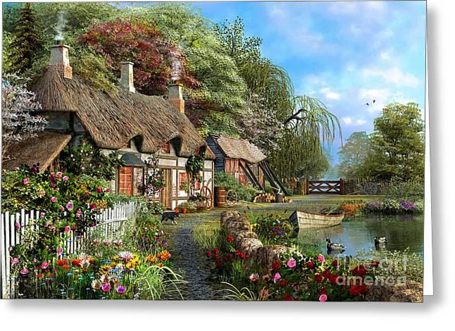 Riverside Home In Bloom Greeting Card