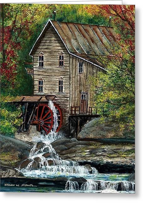 Riverside Mill Greeting Card by Steven Schultz