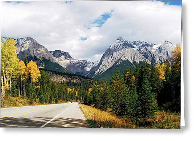 Road Passing Through A Forest, Yoho Greeting Card