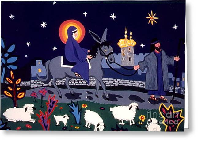 Greeting Card featuring the painting Road To Bethlehem by Joyce Gebauer