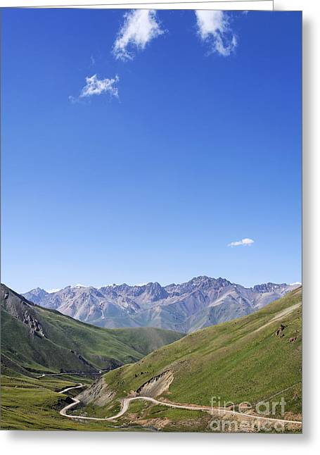 Road Winding Through Mountainous Central Kyrgyzstan Greeting Card