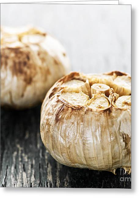 Roasted Garlic Bulbs Greeting Card by Elena Elisseeva