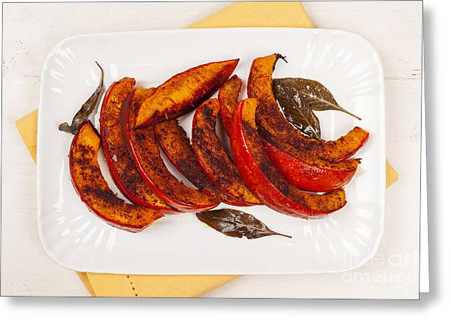 Roasted Pumpkin On Plate Greeting Card by Elena Elisseeva