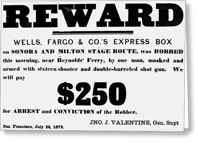 Robbery Reward, 1875 Greeting Card by Granger
