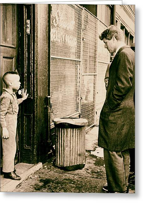 Robert F Kennedy With A Young Black Child 1960s Greeting Card