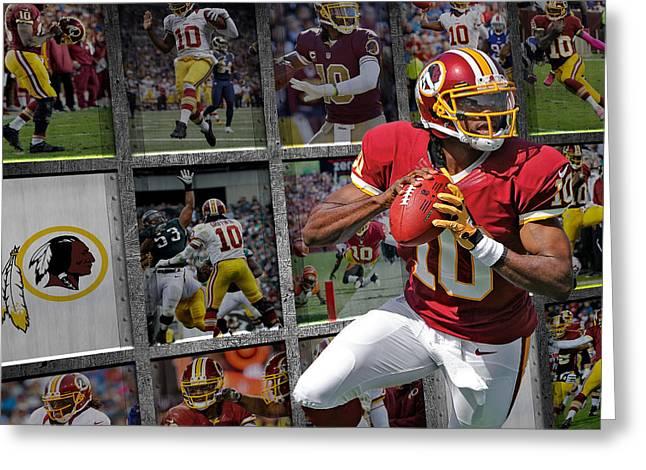 Robert Griffin Rg3 Washington Redskins Greeting Card by Joe Hamilton