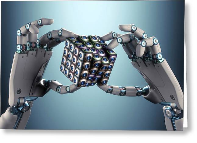 Robotic Hand Holding Cube Greeting Card