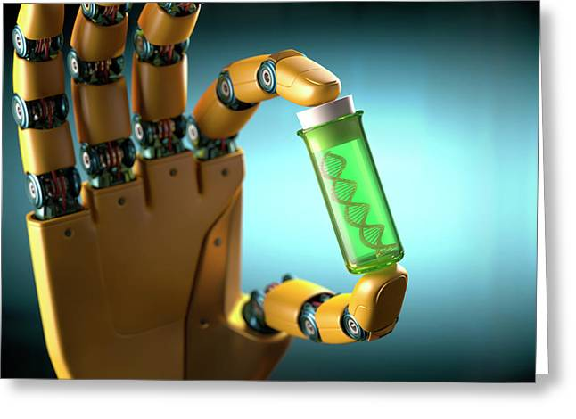 Robotic Hand Holding Test Tube With Dna Greeting Card