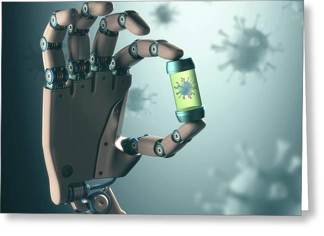 Robotic Hand Holding Virus Greeting Card by Ktsdesign