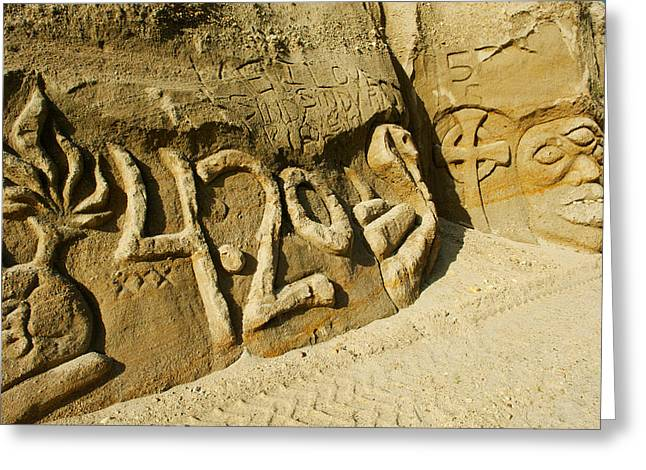 Rock Carvings Between Fillmore Greeting Card by Panoramic Images