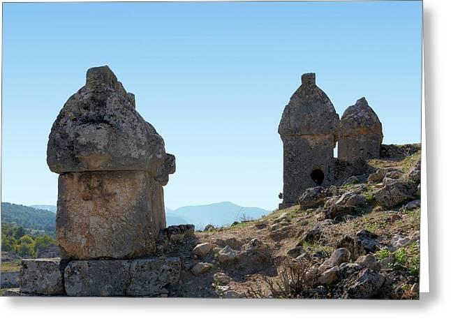 Rock Cut Tombs At Tlos Greeting Card