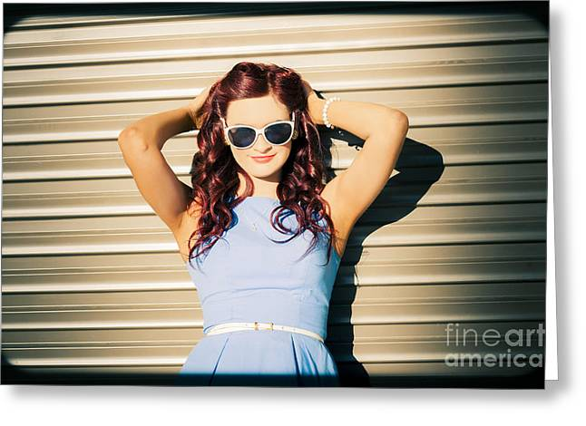 Rockabilly Greaser Pin-up. 50s Drive-in Culture Greeting Card by Jorgo Photography - Wall Art Gallery