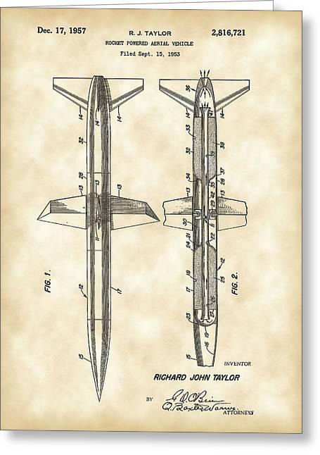 Rocket Patent 1953 - Vintage Greeting Card