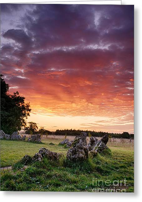 Rollright Stones Sunrise Greeting Card by Tim Gainey