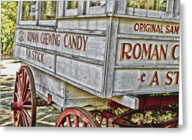 Roman Chewing Candy Greeting Card by Scott Pellegrin