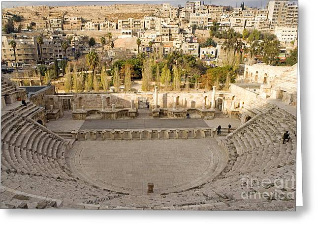 Roman Theater, Amman, Jordan Greeting Card by Adam Sylvester