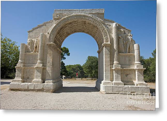 Roman Triumphal Arch, Glanum, France Greeting Card by Adam Sylvester